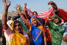 Women in Uttar Pradesh, India at a rally organised by NGO Samarpan.